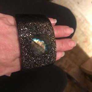Jewelry - LABRADORITE CUFF- leather wrapped